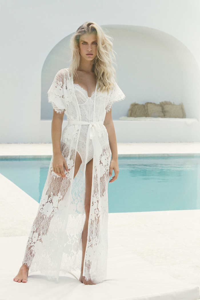 'Amira' Long Lace Bridal Robe