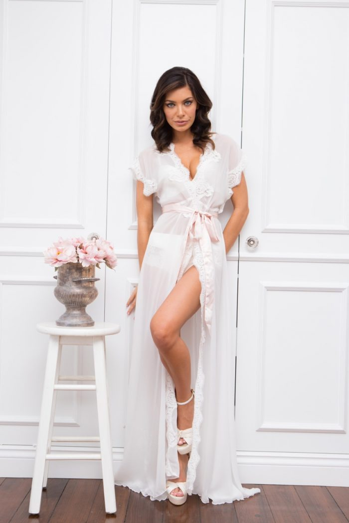 'Farrah' Long Chiffon & Lace Robe